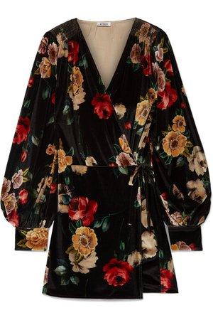 Attico   Floral-print velvet mini wrap dress   NET-A-PORTER.COM