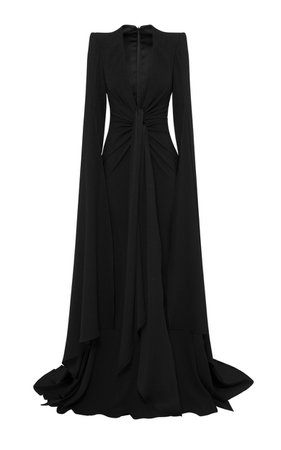 Lane Drape-Detailed Cape-Sleeve Satin Crepe Gown by Alex Perry   Moda Operandi
