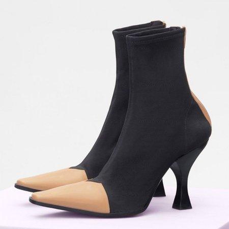 Replica Celine Madame Ankle Boot In Black Gros Grain Stretch