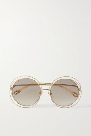 Gold Carlina oversized round-frame gold-tone sunglasses   Chloé   NET-A-PORTER