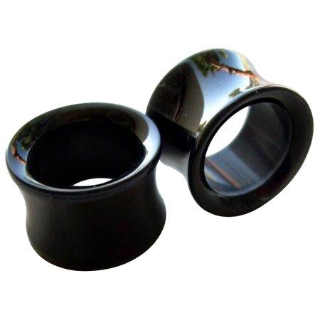 black gauges earrings - Google Search