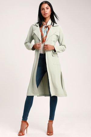 Chic Sage Green Jacket - Lightweight Jacket - Longline Jacket