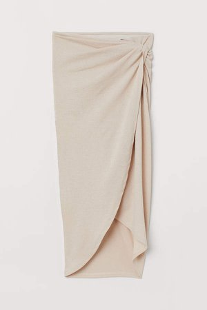 Draped Jersey Skirt - Beige