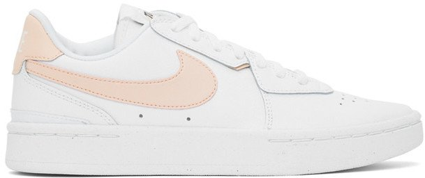 White and Pink Court Blanc Sneakers