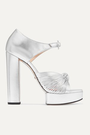 Silver Crawford knotted metallic leather platform sandals | Gucci | NET-A-PORTER