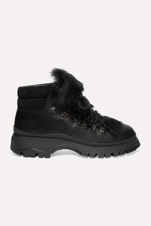 Shearling-trimmed Leather Ankle Boots - Black