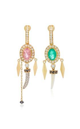 Hamar Asymmetric 18K Gold Multi-Stone Earrings by Aron & Hirsch   Moda Operandi
