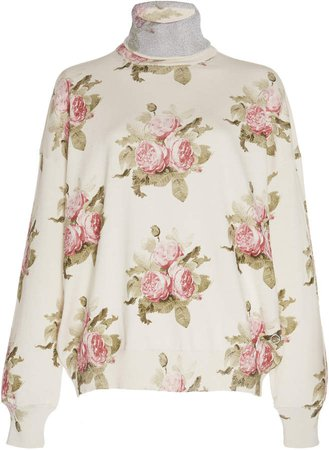 Long Sleeved Floral Turtleneck