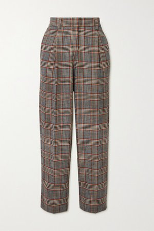 Checked Tweed Tapered Pants - Gray