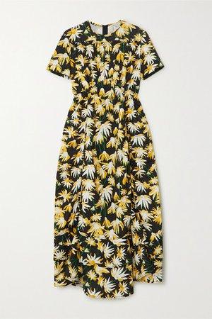 Floral-print Cotton Midi Dress - Yellow