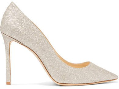 Romy 100 Glittered Leather Pumps - Off-white