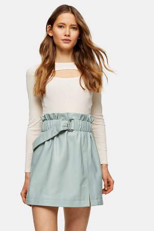 Blue Leather Paperbag Mini Skirt