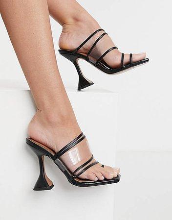 ASOS DESIGN Next toe loop strappy heeled sandals in black | ASOS