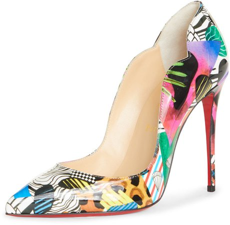 Hot Chick Mix Print Patent Leather Pump