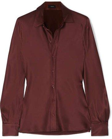 George Silk-satin Shirt - Brown