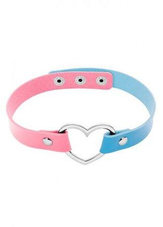 Pink Blue Heart Ring Choker | Attitude Clothing