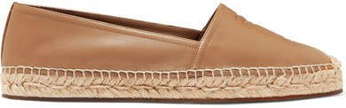 Logo-embossed Leather Espadrilles - Camel