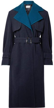 Two-tone Wool Trench Coat - Navy