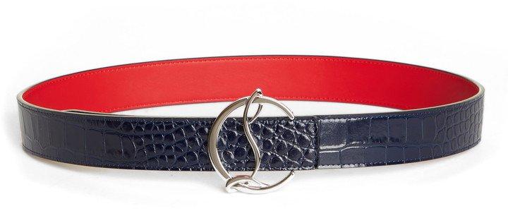 CL Logo Buckle Croc Embossed Leather Belt
