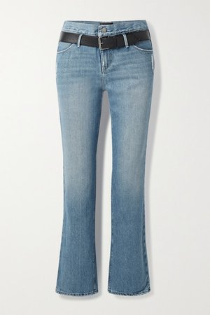 Dexter Belted Distressed High-rise Straight-leg Jeans - Mid denim