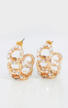 Gold Diamante Chain Hoop Earrings | PrettyLittleThing