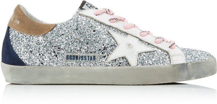 Superstar Distressed Glittered Leather Sneakers
