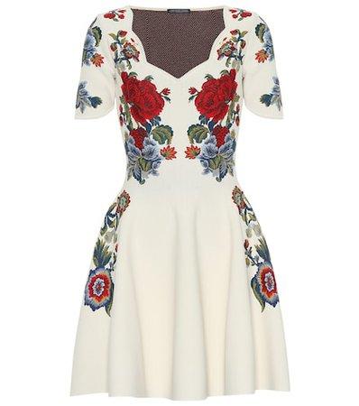 Floral silk-blend jacquard minidress