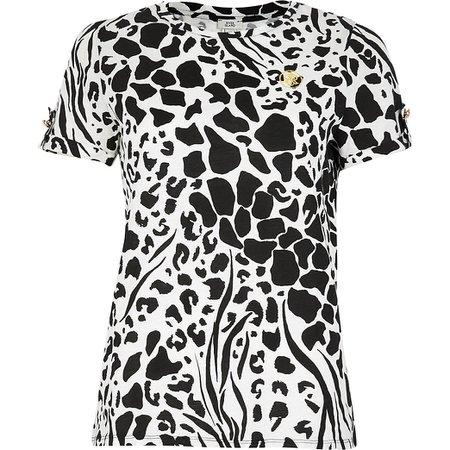 White animal print short sleeve t-shirt | River Island
