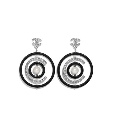 Chanel Black and Silver Earrings