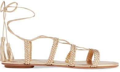 Stromboli Braided Metallic Leather Sandals - Gold
