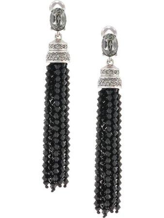 Shop black Oscar de la Renta crystal-embellished tassel earrings with Express Delivery - Farfetch
