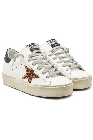 Golden Goose - Hi Star Leather Platform Sneakers with Calf Hair