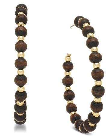 INC International Concepts INC Gold-Tone Wood Bead Large Hoop Earrings, Created for Macy's & Reviews - Earrings - Jewelry & Watches - Macy's