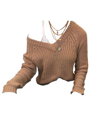 brown sweater and white tank top with a necklace