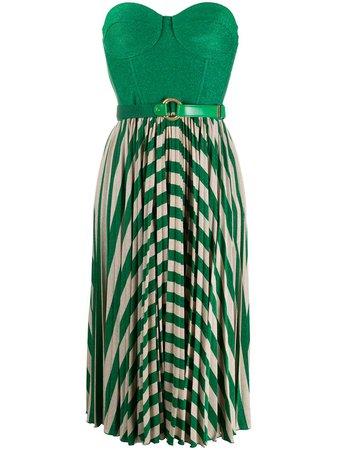 Green Elisabetta Franchi sleeveless pleated dress - Farfetch