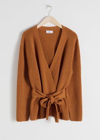Wool Blend Wrap Cardigan - Camel - Cardigans - & Other Stories
