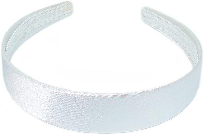 Satin Look Fabric Covered 2.5cm Wide Alice Style Headband (White).: Amazon.co.uk: Clothing