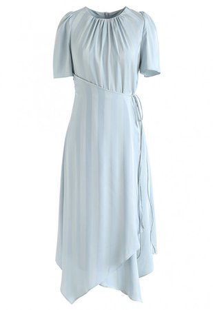 Subtle Stripe Asymmetric Dress in Mint - NEW ARRIVALS - Retro, Indie and Unique Fashion