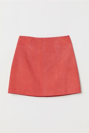 Short Suede Skirt - Coral - Ladies | H&M US