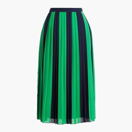 Petite striped pleated midi skirt