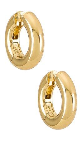 BaubleBar Dalilah Huggie Hoops in Gold   REVOLVE