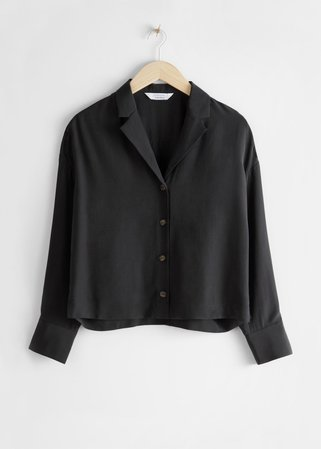 Side Slit Button Up Blouse - Black - Tops - & Other Stories
