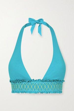 Aruba Smocked Halterneck Bikini Top - Turquoise