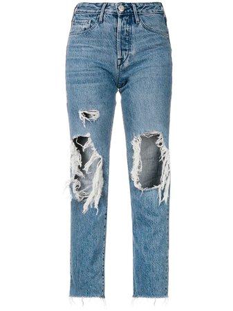 3X1 Cropped Distressed Jeans - Farfetch