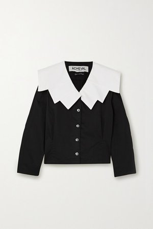 Evita Cotton-blend Blouse - Black
