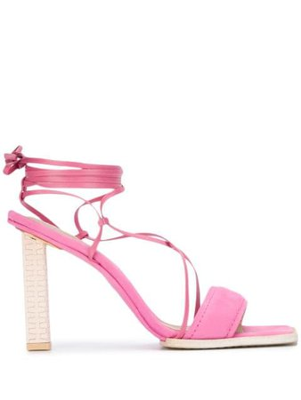 Pink Jacquemus strappy 110mm square-toe sandals 203FO24203406400 - Farfetch