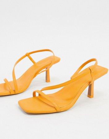 Желтые босоножки на среднем каблуке с ремешками ASOS DESIGN | ASOS