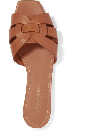 Brown Nu Pieds woven leather slides | SAINT LAURENT | NET-A-PORTER