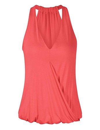 Yesfashion Women's Sleeveless V-Neck Drape Wrap Elastic Hem Tank Top at Amazon Women's Clothing store