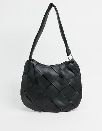 Topshop woven hobo bag in black | ASOS